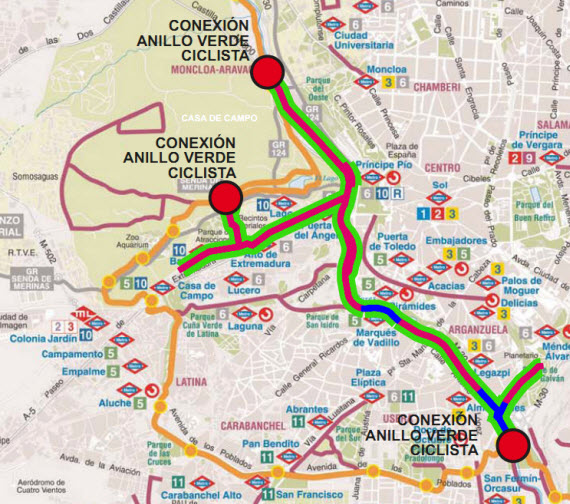 Transporte p blico buses metro y cercan as y en bici a - Anillo verde ciclista madrid mapa ...