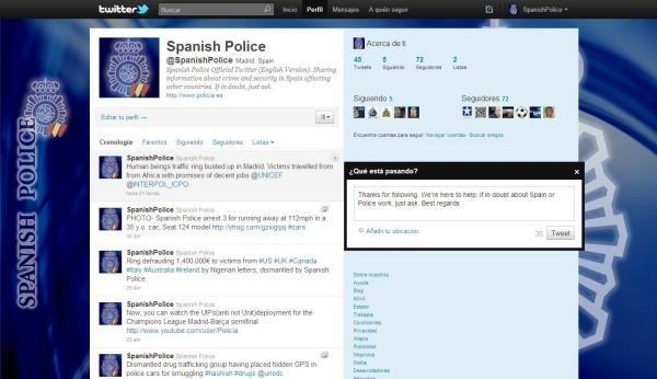 La polic a nacional crea un nuevo perfil en twitter en ingl s for Ministerio del interior en ingles