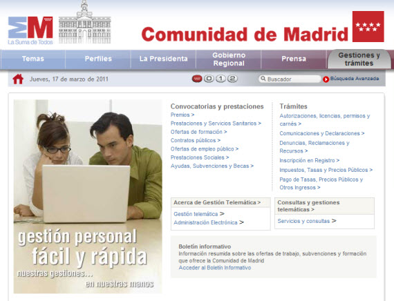 Los 75 quioscos digitales puntos de acceso a internet de for Oficina registro comunidad de madrid