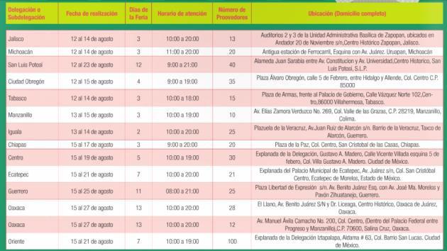 Calendario de la feria de regreso a clases 2016 for Calendario ferias