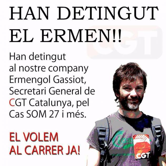 Resultado de imagen de Detenido Ermengol Gassiot (CGT), en busca y captura por la ocupación del rectorado de la UAB